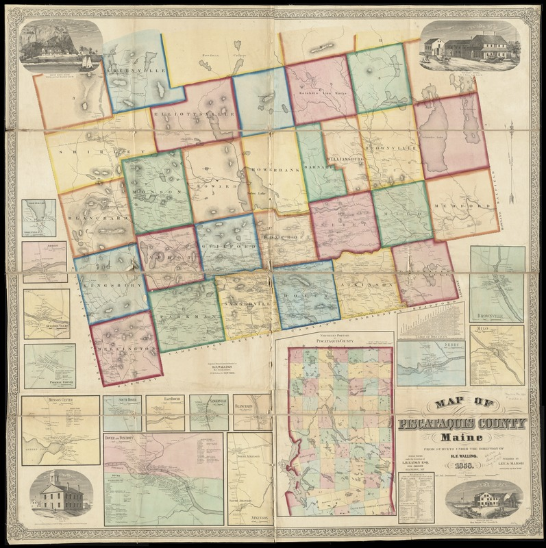 Maine Map Cities And Towns.Map Of Piscataquis County Maine Norman B Leventhal Map