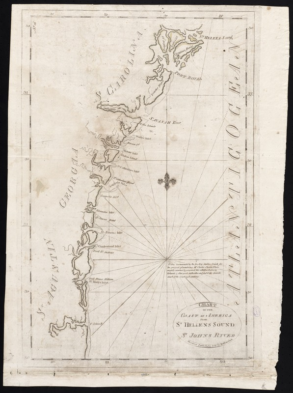 Chart of the coast of America from St. Hellens Sound [to] St. Johns River
