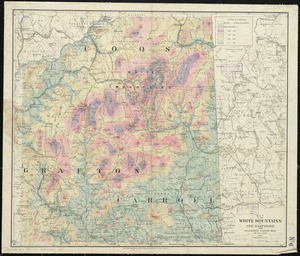 Map of the White Mountains of New Hampshire from Walling's large map of the state, 1881