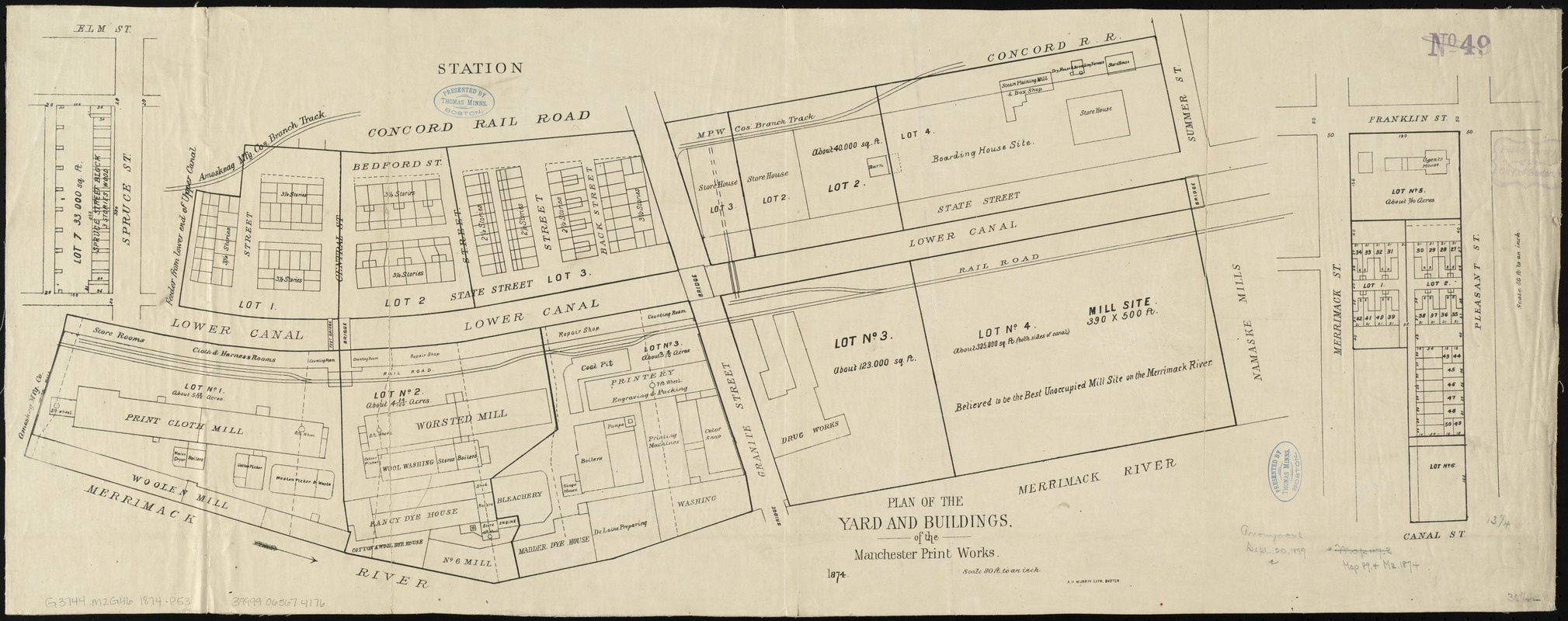 Plan of the yard and buildings of the Manchester Print Works