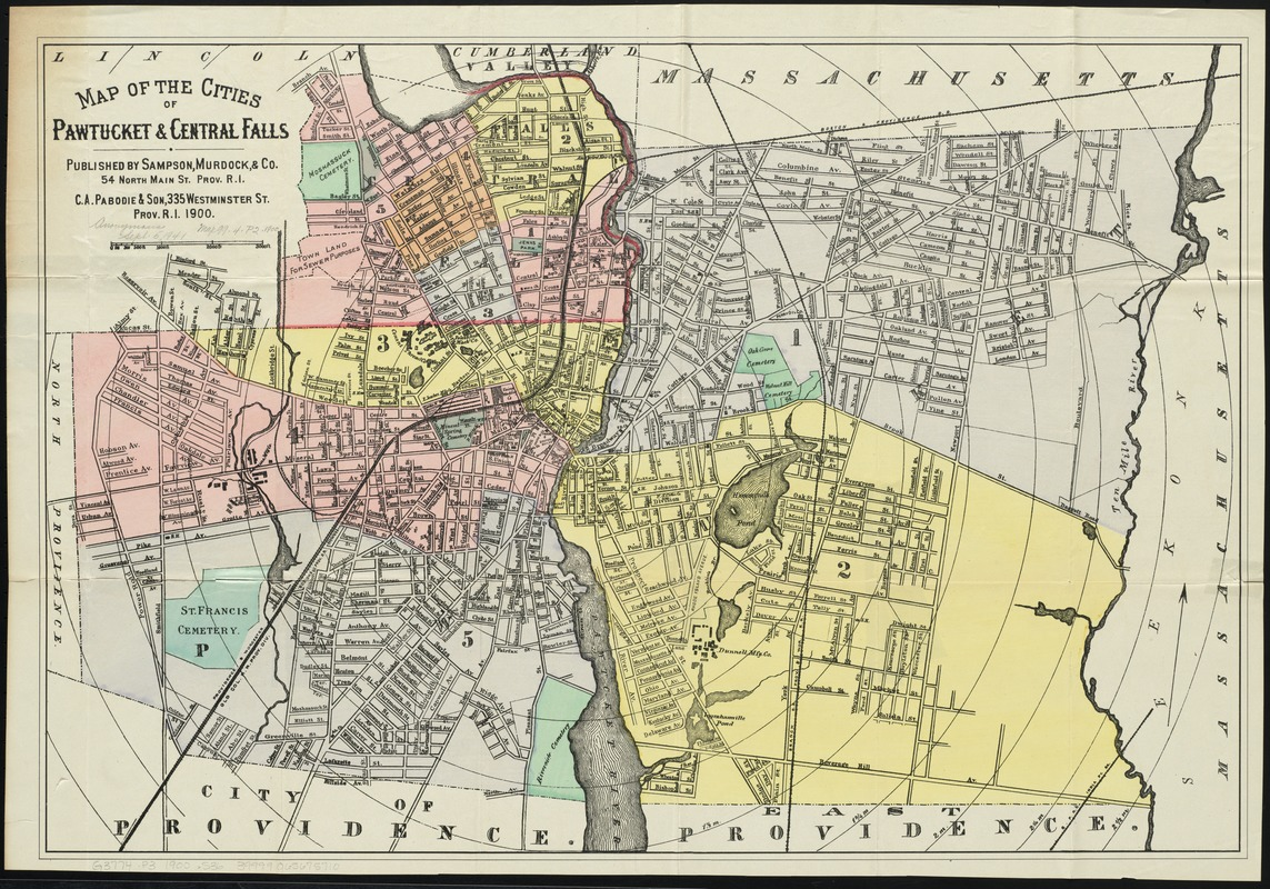 Map of the cities of Pawtucket & Central Falls