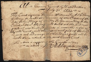 Copy of court order empowering Deacon W. Parke and T. Gardner to make a division of J. Sharp estate