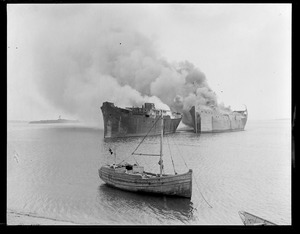 Burning ships for scrap - Boston Harbor Wooden Fairfield