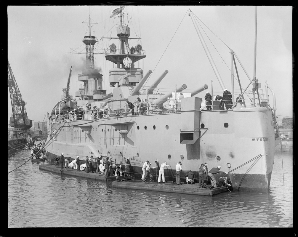 USS Wyoming in dry dock, South Boston