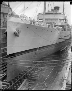 French battleship Ville D'ys in dry dock at Charlestown Navy Yard