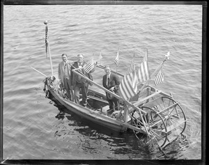 Odd three-man hand powered paddle boat, Wareham