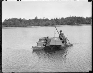Odd one-man hand powered paddleboat Thonet, Wareham