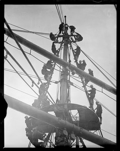 Crew in the rigging of the training ship Nantucket