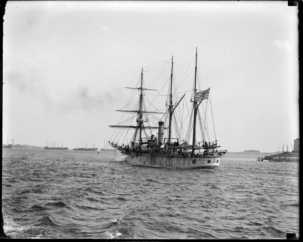 Training ship Nantucket leaving Boston Harbor for a cruise around the world