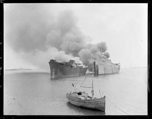 Burning two shipping board vessels, Boston Harbor