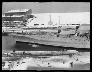 Bow of the USS Idaho, in drydock (left side of panorama)
