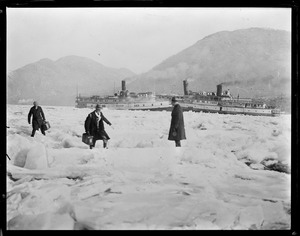 Steamers iced in on the Hudson River