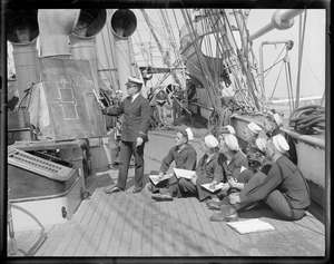 Class conducted on deck of Mass. training ship Nantucket