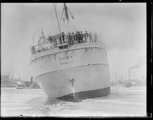 SS Roma arrives in Boston after fighting winter gales along the coast. Sailor boys arrive at the Navy Yard and are allowed a few days leave.