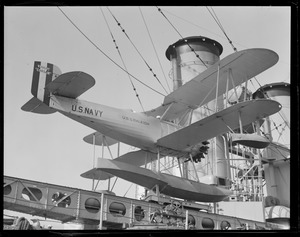 Amphibious plane on catapult aboard the USS Raleigh, at Navy Yard