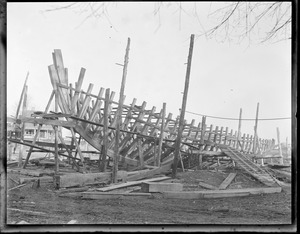 Boat under construction, Essex ship yard, Essex