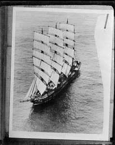 Aerial view of square rigger