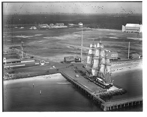 Aerial view of whaling ship at Green's estate - Dartmouth, MA.