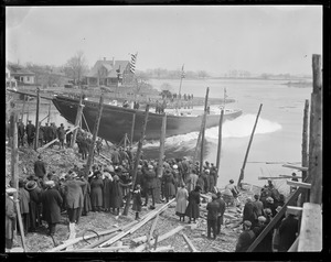 Launching of the fishing schooner Henry Ford (Probably the Story Shipyard, Essex, Mass.)