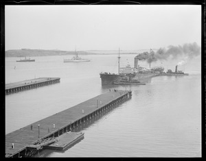 SS West Hika' with tug boats. South Boston. Coast Guard Mohave is just beyond - she rescued her.