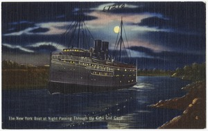 The New York Boat at night passing through the Cape Cod Canal.