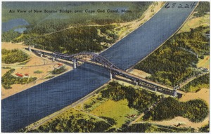 Air view of new Bourne Bridge over Cape Cod Canal, Mass.