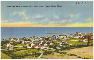 Bird's eye view of Brant Rock, from tower, Ocean Bluffs, Mass.