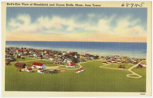 Bird's-eye view of Marshfield and Ocean Bluffs, Mass., from Tower