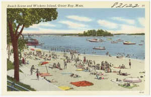 Beach scene and Wickets Island, Onset Bay, Mass.
