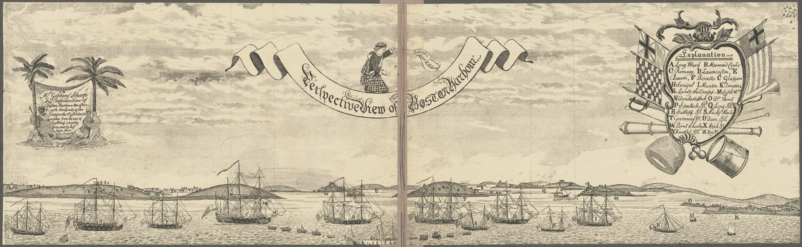 View of Boston Harbor and the British fleet, 1768