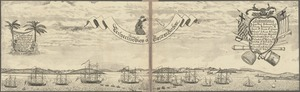 Boston. Perspective. View of Boston Harbor and the British fleet, 1768