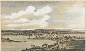 View of the North End of Boston in New England America and of Charles Town taken from the [illegible]