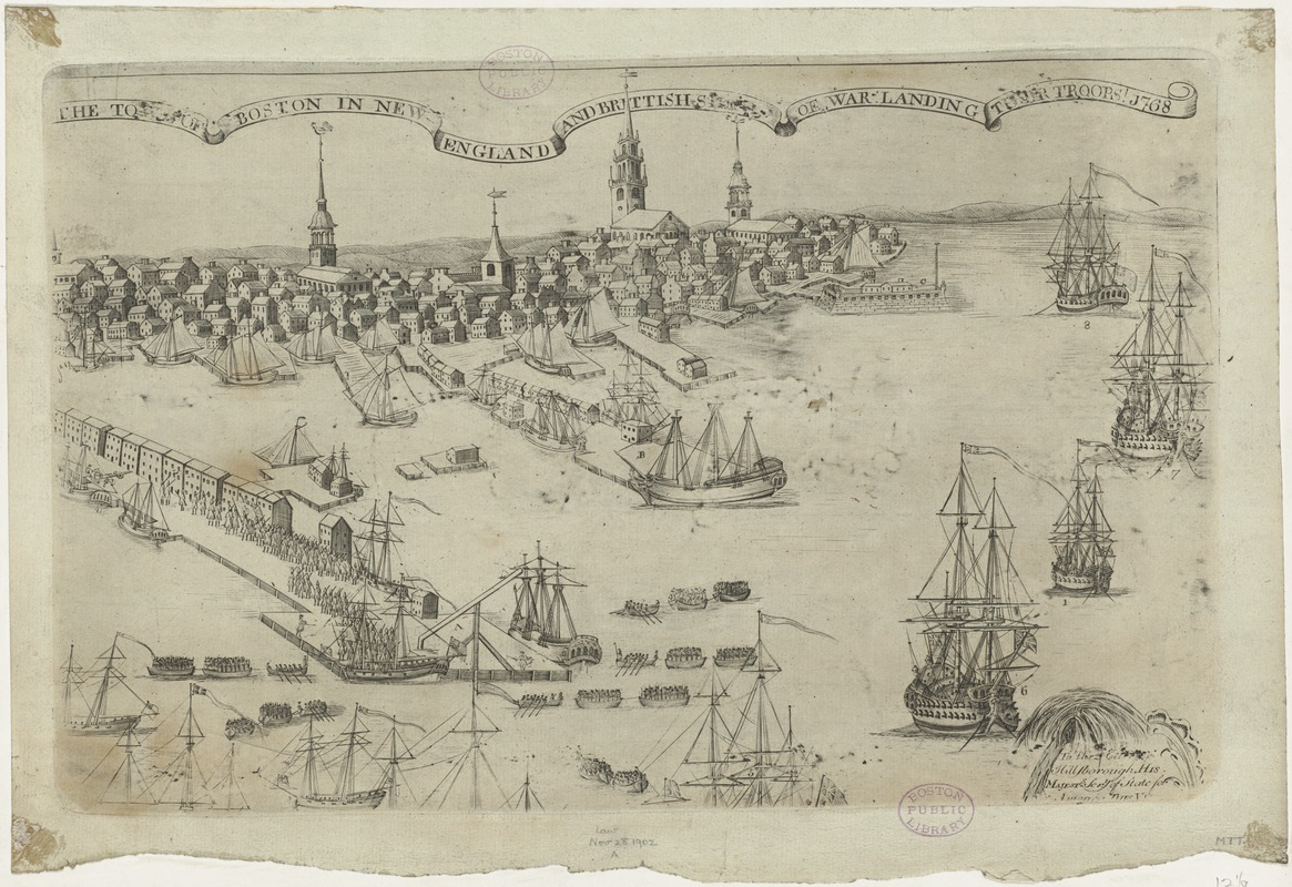 The town of Boston in New England and Brittish ships of war landing their  troops! 1768