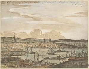 View of the Long Warf & port of the harbour of Boston in New England America
