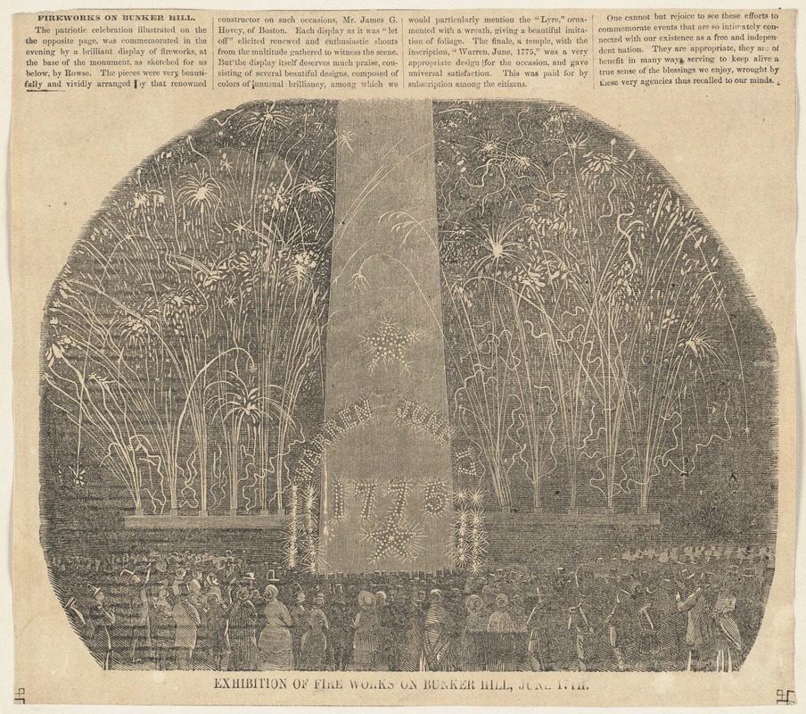 Exhibition of fire works on Bunker Hill, June 17th