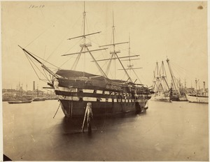 Boston Navy Yard, Charlestown with view of ship identified as receiving ship Ohio