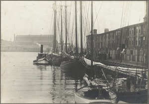 Boston, Massachusetts. T wharf, north dock and East Boston grain elevator. Destroyed by fire, 1903
