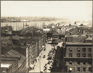 Lower State Street, ferry and harbor from Board of Trade building, August 19, 1908