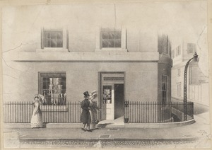 View of the Beacon St. corner of Tremont House (about 1830