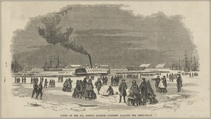 Scene on the ice, Boston Harbor -- citizens hauling the ferry-boat