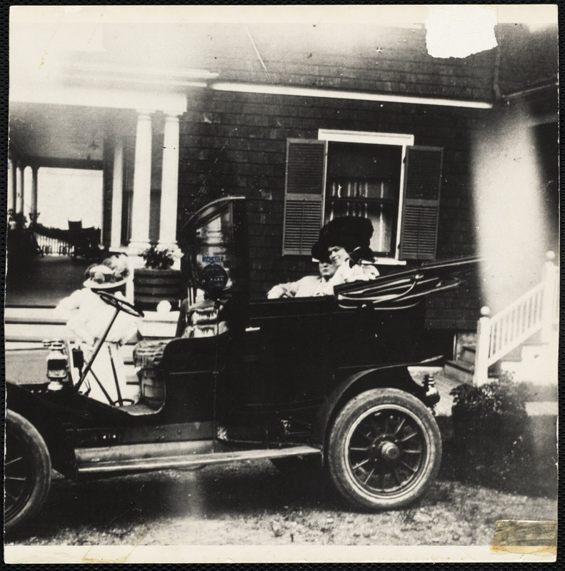 """Margaret Groves climbing into a new Stanley Steamer for jaunt on Columbia Road's """"Automobile Lane,"""" Jones Hill"""