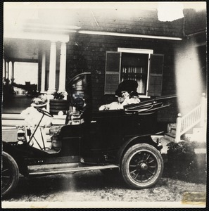 "Margaret Groves climbing into a new Stanley Steamer for jaunt on Columbia Road's ""Automobile Lane,"" Jones Hill"