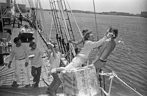 "Repelling custard-pie ""boarders"" on HMS Beaver, East Boston"