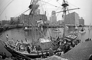 Boston Tea Party reenacted at HMS Beaver, Fort Point Channel, Boston