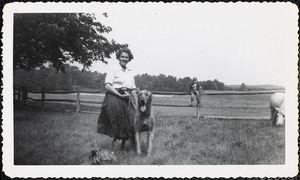 A woman stands in a field or paddock holding the leash of a large dog