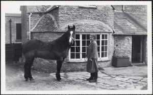 A woman holds a lead rein attached to the halter of a dark-colored horse