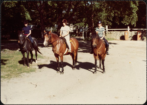 Horseback riders Tommy Jones, on Squeaky Black Feather; Micki [McElhinney] on Flying Feather; and Ann Jones on Bay Feather