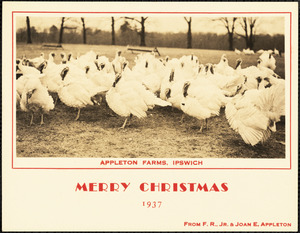 Appleton Farms, Ipswich. Merry Christmas, 1937, from F.R., Jr. & Joan E. Appleton