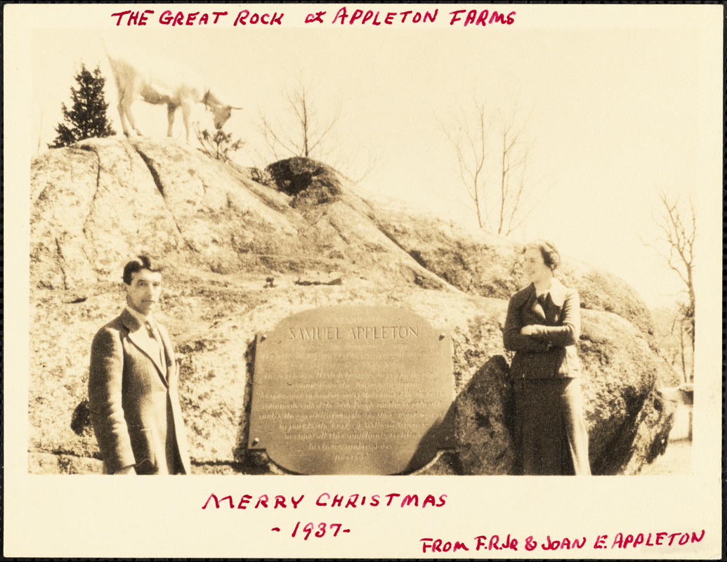 The Great Rock at Appleton Farms. Merry Christmas -1937- from F.R. Jr & Joan E. Appleton