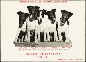 Barberry Kennels, Appleton Farms, Ipswich, Mass. Merry Christmas, 1945, from J.R., Jr. & Joan E. Appleton